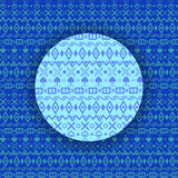 Winter geometric ornament. Blue rhombuses, hearts, squares, cros Stock Image