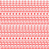 Winter geometric ornament. Red rhombuses, hearts, squares, cross. Vector winter geometric ornament. Red rhombuses, hearts, squares, crosses etc on the white Royalty Free Stock Image