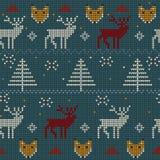 Winter gestricktes Muster mit Rotwild und Fuchs Stockbilder