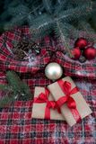 Gifts and decorations under the Christmas tree. Winter gifts and decorations under the Christmas tree Royalty Free Stock Photography