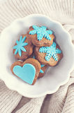 Winter gingerbread with fondant decorations. Delicate and elegant winter gingerbread with fondant decorations Stock Image