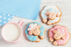 Winter gingerbread sheep with cup of milk Royalty Free Stock Photography