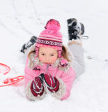 Winter girl. Cheerful little girl at winter Royalty Free Stock Images