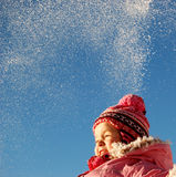 Winter girl. Cheerful little girl at winter Royalty Free Stock Photos