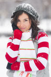 Winter girl. Young brunette woman with quirky smile dressed warmly in winter weather, slightly covered with snow Stock Photography