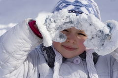 Winter girl. Girl in sun Royalty Free Stock Image