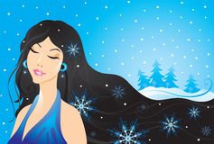 Winter girl. Winter pretty girl with snowflake stock illustration