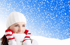 Winter Girl. Portrait of a cute girl in  winter background Royalty Free Stock Photography