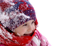 Winter girl. Cheerful little girl at winter, plenty of copy space Royalty Free Stock Image