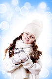 Winter Girl abstract white and blue background Royalty Free Stock Image