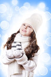 Winter Girl abstract white and blue background stock photo
