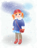 Winter girl with bag  in vintage coat and knitted hat. Royalty Free Stock Image
