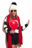 Winter girl with balloon Royalty Free Stock Images