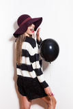 Winter girl with balloon Stock Images