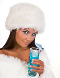 Winter girl with blue cocktail Royalty Free Stock Photography