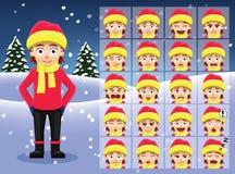 Winter Girl Cartoon Emotion faces Vector Illustration Royalty Free Stock Image