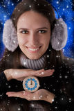 Winter Girl with Clock Royalty Free Stock Images