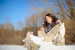 Winter girl with closed eyes Royalty Free Stock Photos