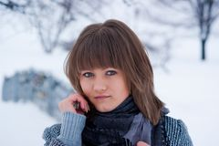 Winter Girl in a coat Royalty Free Stock Images