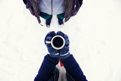 Winter girl with coffee Royalty Free Stock Photo