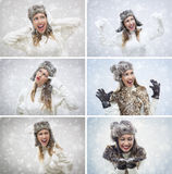 Winter Girl. Collage of a beautiful young woman in warm clothing having fun while snowing Stock Image