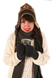 Winter girl drinking hot chocolate Royalty Free Stock Photos
