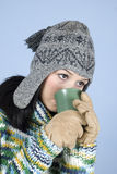 Winter girl drinking tea royalty free stock photo