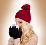 Winter girl drinking tea Royalty Free Stock Photography
