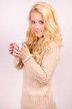 Winter girl drinking tea Royalty Free Stock Photography