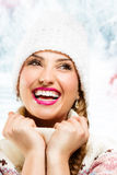 Winter girl drinking warm beverage Stock Photography