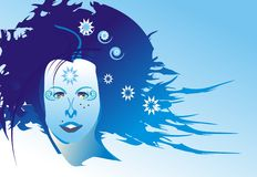 Winter girl face. Vector illustration Royalty Free Stock Photos