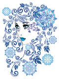 Winter Girl with Floral Stock Image