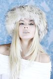 Winter girl in fur hat Royalty Free Stock Photos