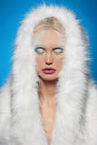 Winter girl in fur hhod.snow queen Royalty Free Stock Photography