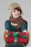 Winter girl with gift Stock Photo
