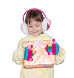 Winter Girl with gift box Stock Photos