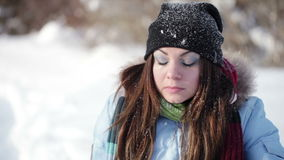 Winter girl grimaces stock footage