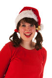 Winter girl with hat Santa Claus Stock Photography