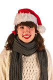 Winter girl with hat Santa Claus Royalty Free Stock Photography