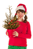 Winter girl with hat Santa Claus Royalty Free Stock Photos