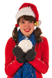 Winter girl with hat Santa Claus and snow Royalty Free Stock Image