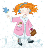 Winter girl and her bird friend. Stock Photography