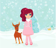 Winter girl and her dog Royalty Free Stock Photography