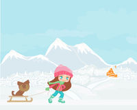 Winter girl and her dog Royalty Free Stock Image