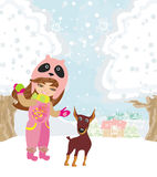 Winter girl and her dog Royalty Free Stock Images