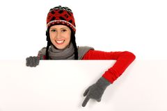 Winter girl holding blank sign Stock Photography