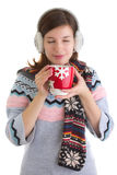 Winter girl with hot beverage Stock Photos