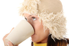 Winter girl with hot cup Royalty Free Stock Images