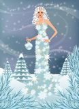 Winter girl.  illustration Royalty Free Stock Photography