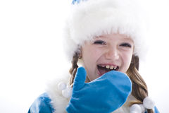 Winter Girl isolated on white background Royalty Free Stock Image
